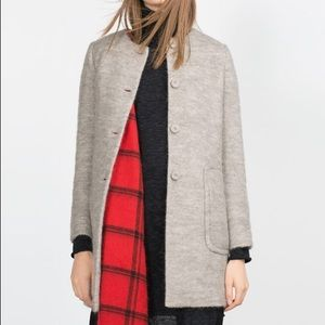 NWT Zara Light Grey Mohair Blend Coat